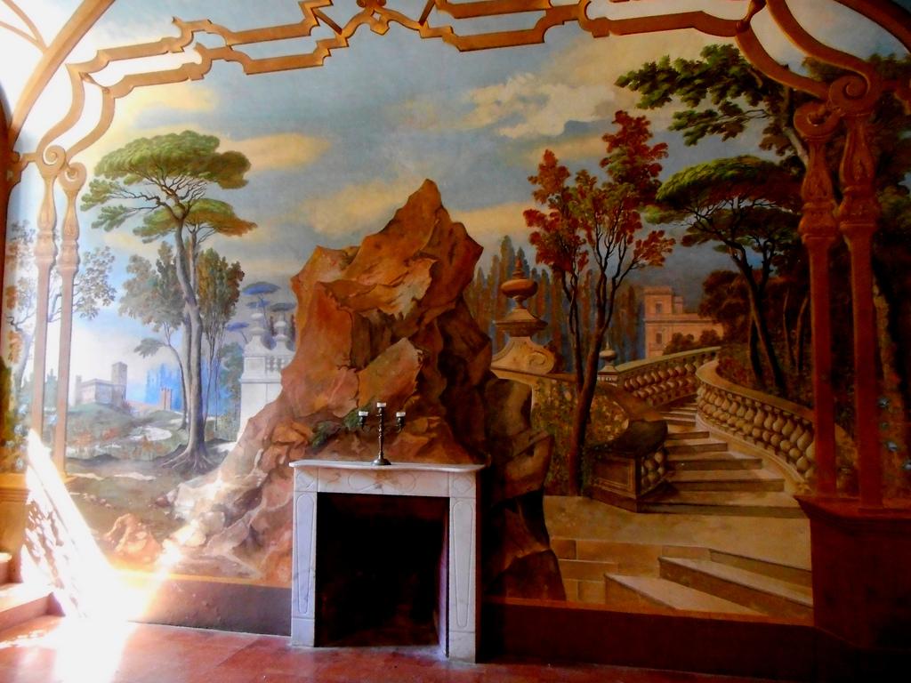 trompe l'oeil, room with trompe l'oeil, interior design terms, sygrove