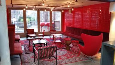 bright red lobby, sygrove associates, lobby interior design ideas that didn't fly, marilyn sygrove